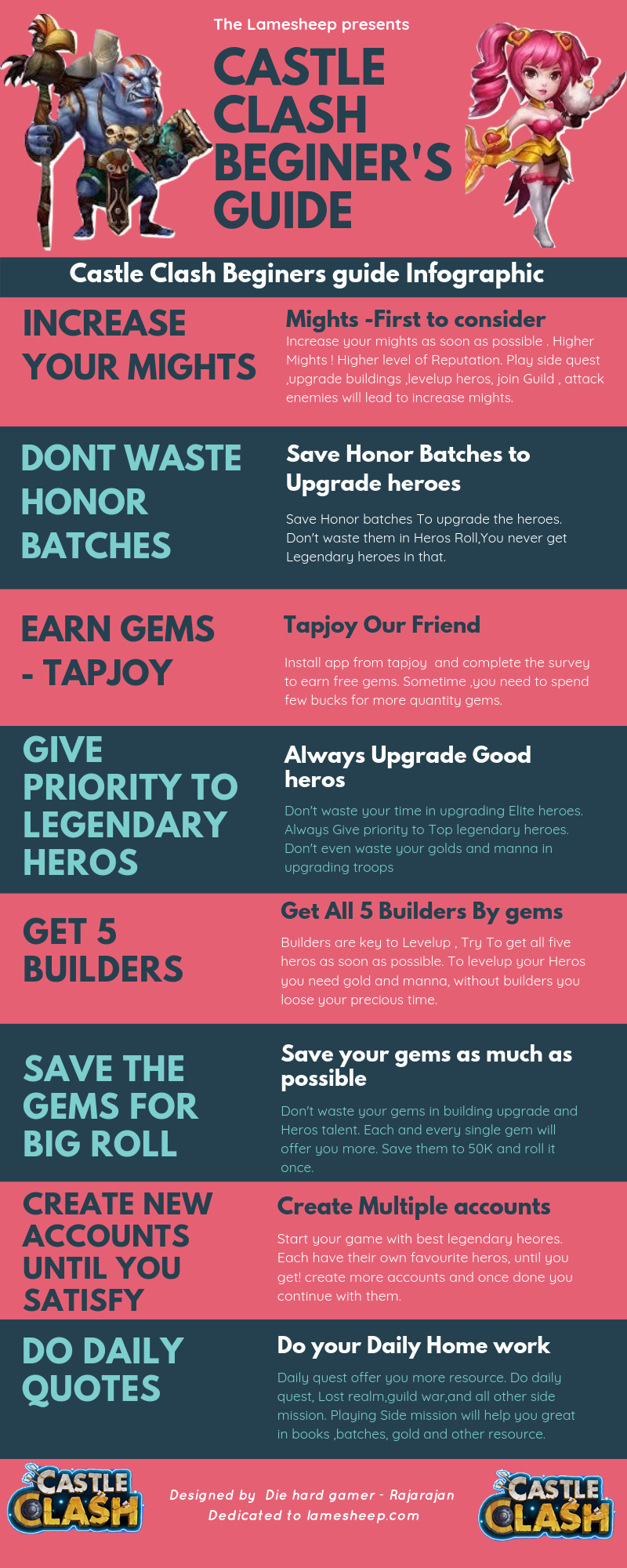 castle clash beginners guide infographic